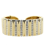 Diamond Cuff Bracelets 4.00 Ct Solid Gold Natural Certified